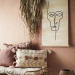Tenture murale Visage en fibres de bambou avec corde - Madam Stoltz