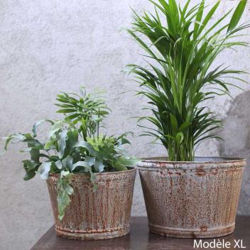Cache-Pot XL rustique pour plantes en Zinc Vieilli allure Bohème chic