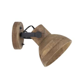 Applique orientable en Bois foncé et métal douille E27