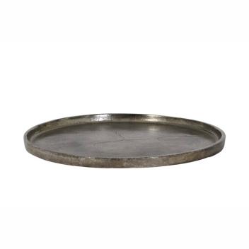 Plateau en métal foncé noir perle effet Vieilli D. 30 cm