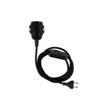 Douille E27 noire avec interrupteur et cordon tissu + Prise de courant