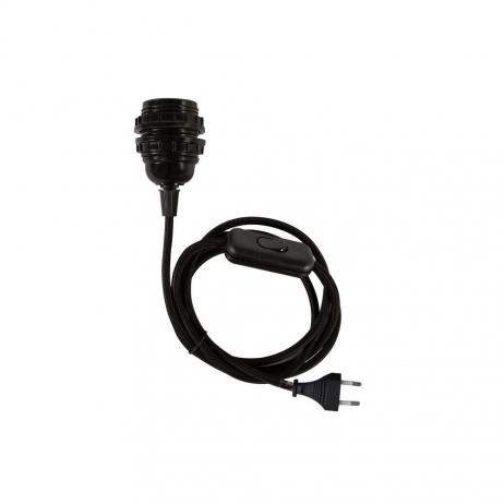Douille E27 noire avec interrupteur et cordon tissu