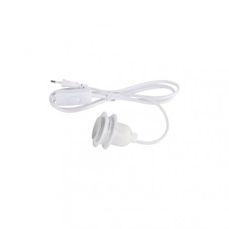 Douille E27 coloris blanc avec interrupteur