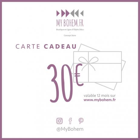 Carte Cadeau Déco MyBohem 30 eur