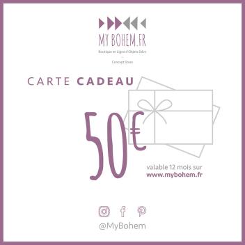 Carte Cadeau Déco MyBohem 50 eur - Pour faire plaisir à coup sûr !