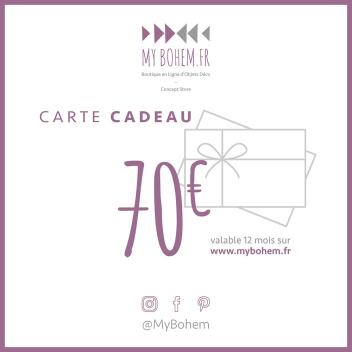Carte Cadeau Déco MyBohem 70 eur - Pour faire plaisir à coup sûr !