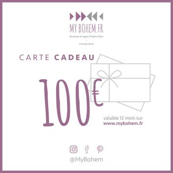 Carte Cadeau Déco MyBohem 100 eur - Pour faire plaisir à coup sûr !