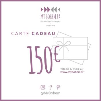 Carte Cadeau Déco MyBohem 150 eur - Pour faire plaisir à coup sûr !