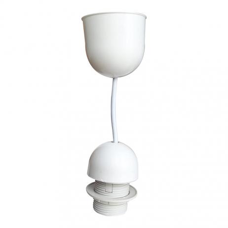 Monture blanche E27 Pvc et cordon blanc