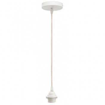 Monture E27 blanche et fil corde naturelle