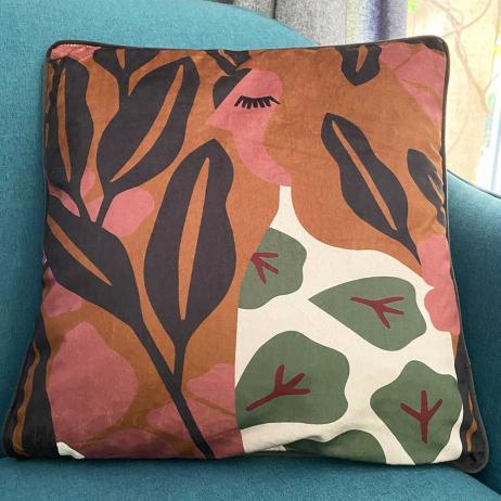 Coussin Velours motif Feuillage style Moderne chic - Garni