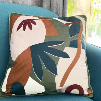 Coussin Velours motif Fleurs style Moderne chic - Garni