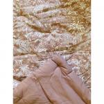 Plaid matelassé ou tapis d'eveil carré Coton Rose poudré