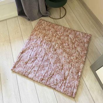 Plaid matelassé ou tapis d'eveil carré Coton Rose poudré 90 cm