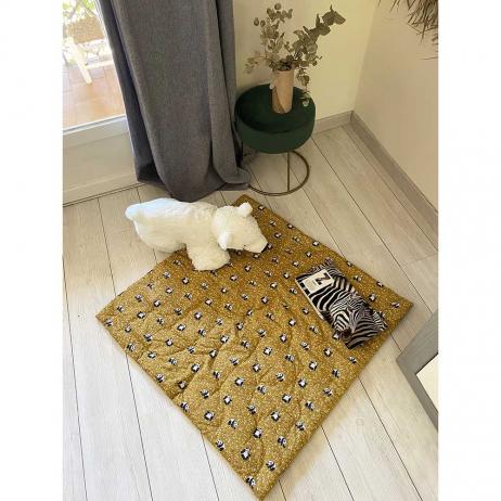 Plaid matelassé ou tapis d'eveil carré Jaune moutarde 90 cm