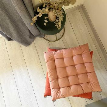 Coussin ou galette de chaise en Percale Coton coloris Rose poudré