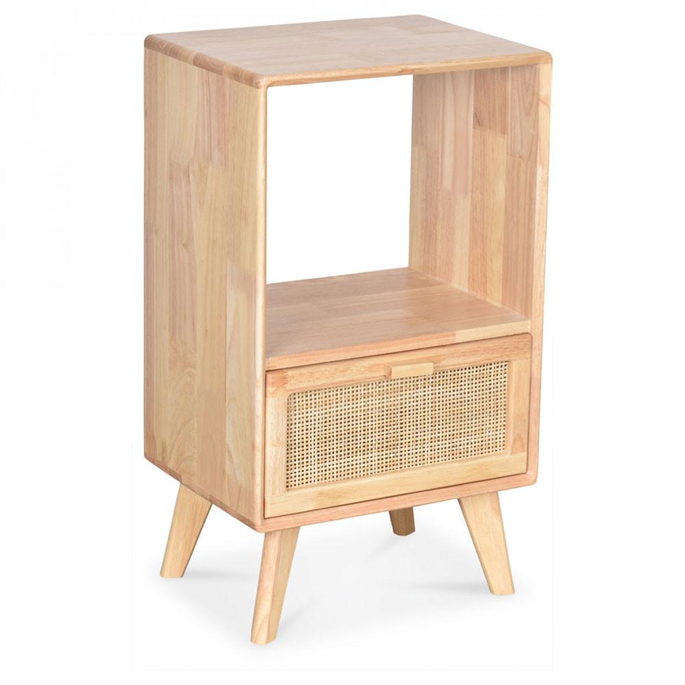 table de chevet en bois d hevea et rotin tisse coloris naturel 1 tiroir