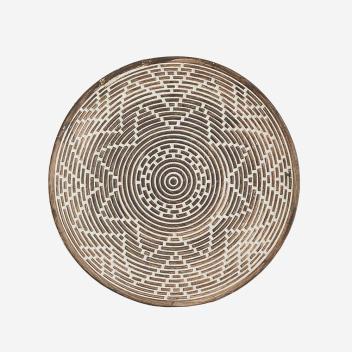 Plateau Rond motif ethnique en argile taille M pour déco murale