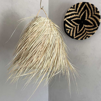 Suspension Marocaine taille L bohème en paille de palmier tressée