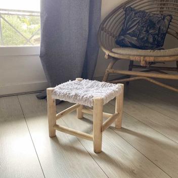 Tabouret Bois et Tissu Blanc Marocain 23 cm