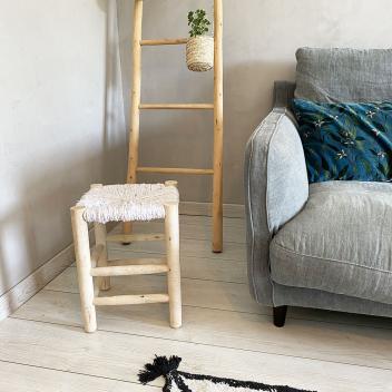 Tabouret Marocain taille L en Bois et Tissu Blanc - écru H. 40 cm