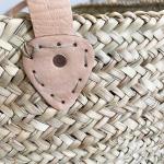 Grande panière de rangement anses cuir