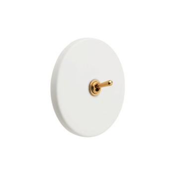 Interrupteur Blanc et doré en Porcelaine
