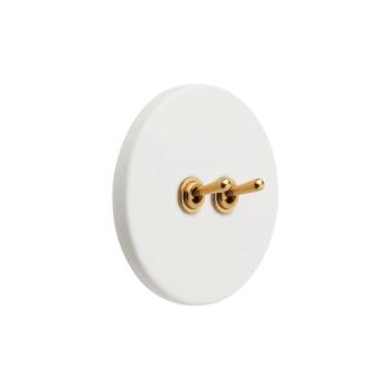 Interrupteur double Blanc et doré en Porcelaine de Limoges