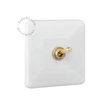 Interrupteur Carré Blanc et doré en Porcelaine de Limoges Rétro Chic