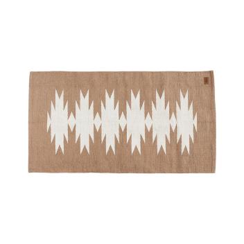 """Tapis en coton Blanc et Sable """" Thelo """" à motifs tissés 150 x 80 cm"""
