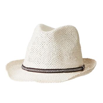 Chapeau en paille Blanc M avec ganse Tressage ajouré D. 28 cm