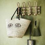 Porte-manteau mural en Bambou Naturel 4 crochets