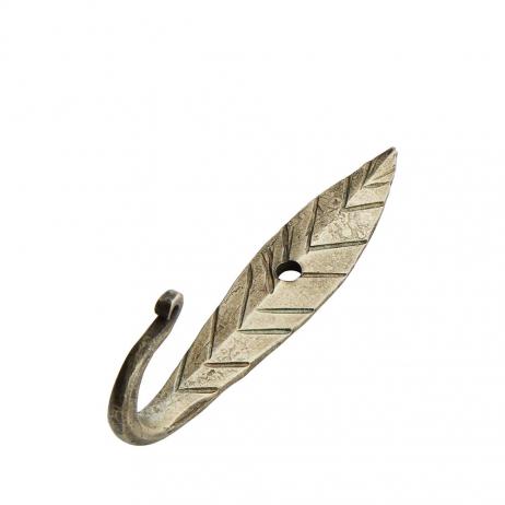 Crochet feuille en métal doré