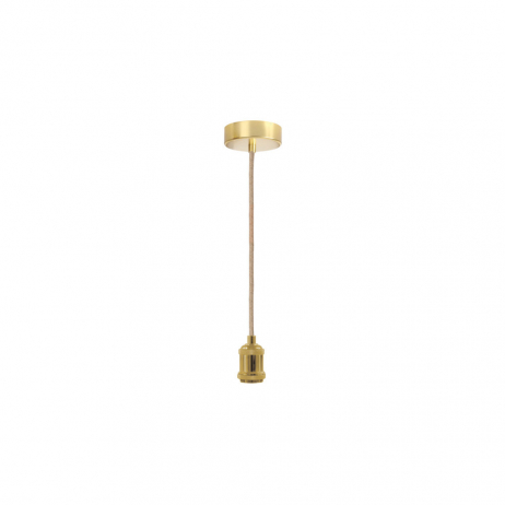 Suspension Douille en métal cordon corde naturelle