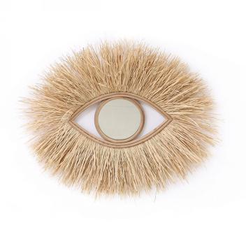Miroir Oeil en raphia XL 75 cm en fibre Naturelle avec franges