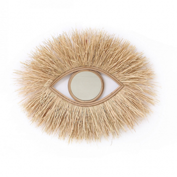 Miroir Oeil en raphia XL avec franges