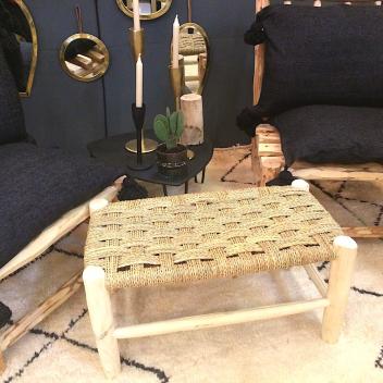 Banc traditionnel berbère Tressage damier en paille et bois brut