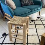 Tabouret en bois et Paille 40 cm