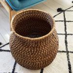 Panier rigide Cache pot ou rangement en Rotin foncé