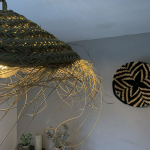 Abat-jour Suspendu Parasol M en fibre alfa naturelle tressée