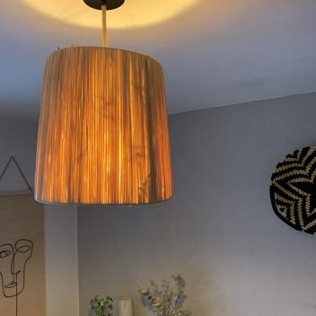 Abat-jour pour Luminaire en raphia fait main - Hauteur 30 cm