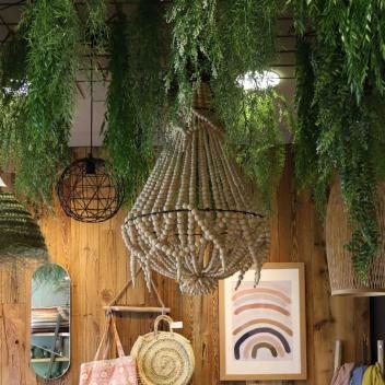 Lustre de Bali avec Pampilles en perles de bois - Naturel 50 cm