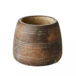 Cache-Pot Gris motif Losanges en Polystone esprit Bohème chic