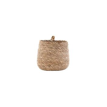 Panier ou cache pot en herbier avec petite anse à suspendre ou poser