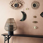 """Miroir """"Sunshine"""" avec cadre baguettes de bois naturel Taille S"""