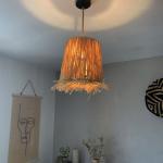 Abat-jour pour Luminaire en raphia avec franges - Hauteur 25 cm