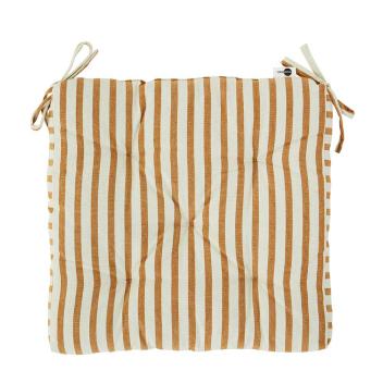 Coussin de chaise Coton Orange avec rayures - Mme Stoltz