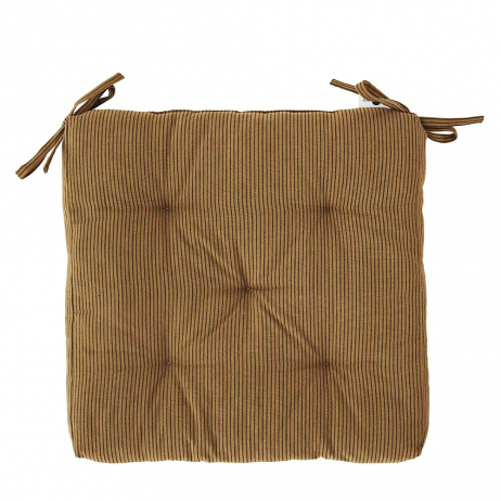 Coussin de chaise Coton Marron rayures noires - Mme Stoltz