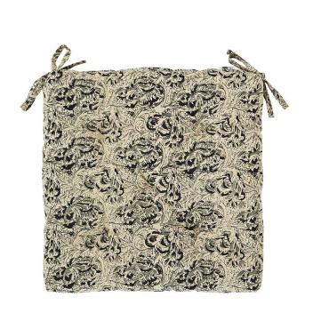 Coussin de chaise Coton motif Feuille Beige, Noir et Gris - Mme Stoltz