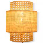 Applique luminaire en cannage avec abat-jour raphia naturel
